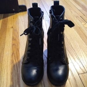 Time and Tru Black Lace up Boots with Heel